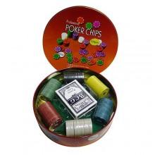 Покерный набор (Poker Chips) на 120 фишек с номиналом в круглой упаковке