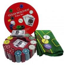 Покерный набор на 240 фишек с номиналом в круглой упаковке Premium