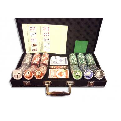 Набор для покера (Покерный набор) Royal Flush New на 300 фишек в черном кожаном кейсе
