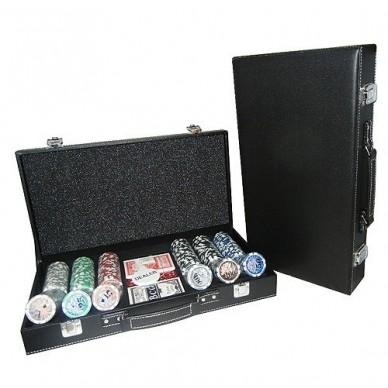 Набор для покера (Покерный набор) Royal Flush Lux на 300 фишек в черном кожаном кейсе