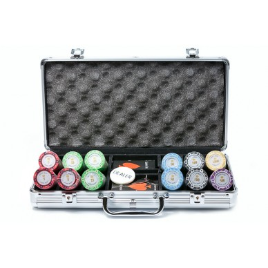 Набор для покера Monte Carlo 300, фишки 14 грамм с номиналом Premium