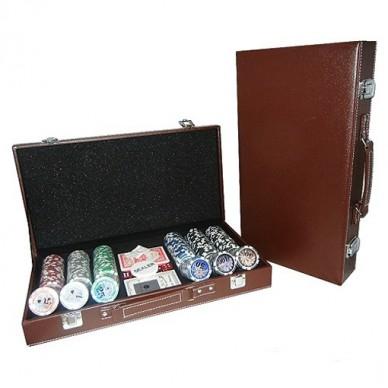 Набор для покера Leather Brown на 300 фишек Lite