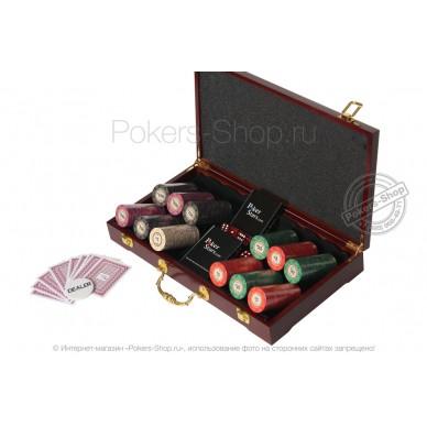 Набор для покера LUX на 300 фишек с керамическими фишками