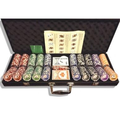 Набор для покера (Покерный набор) Royal Flush New на 500 фишек в черном кожаном кейсе Premium