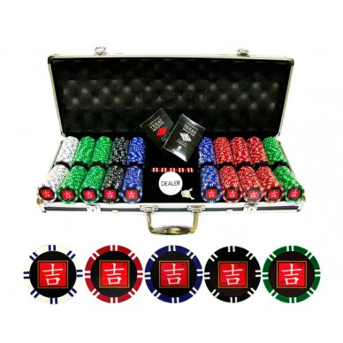 Набор для покера 500 фишек Lucky с номиналом Premium