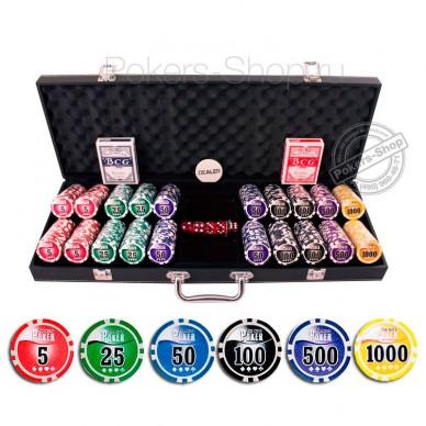 Набор для покера Leather Black на 500 фишек Lite