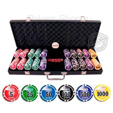 Набор для покера Leather Black на 500 фишек Premium