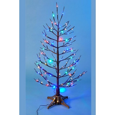 Дерево коричневое оптиковолоконное с разноцветными огнями