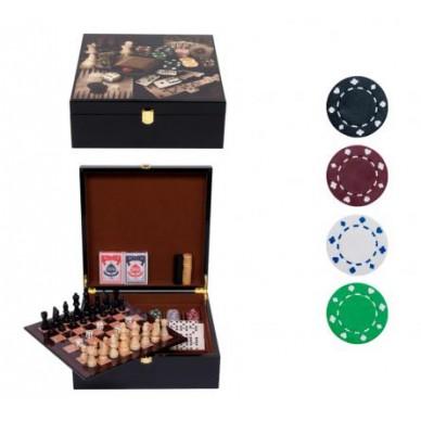 Набор игр (Нарды, шахматы. шашки, домино, карты, кости, покер 200 фишек)