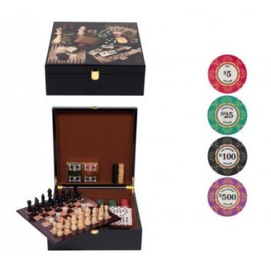 Набор игр LUX (Нарды, шахматы. шашки, домино, карты, кости, покер 200 фишек)