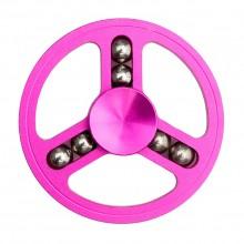 Спиннер металлический круглый с шариками розовый